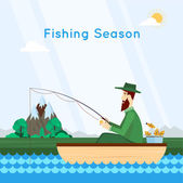 Fisherman sitting in boat and fishing — Stock Vector