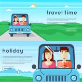 Man and woman traveling by car — Stock Vector