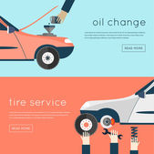 Changing oil in car, tire and repairs — Stock Vector