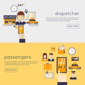 Taxi dispatcher receives call — Stock Vector