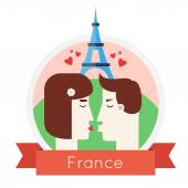 Man and woman kissing near Eiffel Tower — Stockvector