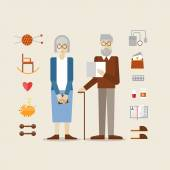 Elderly man and woman grandparents — Stock Vector