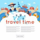 World Travel. Planera sommarsemester — Stockvektor