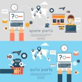 Internet auto parts store — Stock Vector