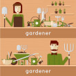 Gardeners with their garden tools — Stockvektor  #73729535