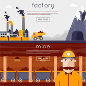 Miner in a mine produces breed — Stock Vector