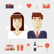 Newlyweds and set of icons — Stock Vector #76233115