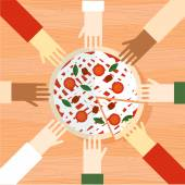 Hands reach for pizza — Stock Vector