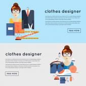 Kleren van de ontwerper op de werkplek — Stockvector