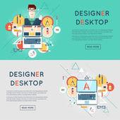 Ontwerper karakter en werkruimte met hulpmiddelen en apparaten — Stockvector