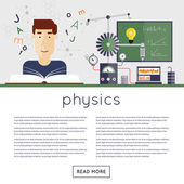 Student in physics class reading textbook — Stock Vector