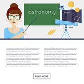 Astronomie leraar verklaart het materiaal — Stockvector