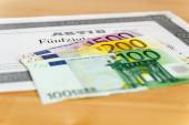 Share with Euro banknotes — Stock Photo