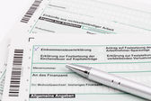 Form of income tax return with ball pen — Stock Photo