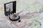 Compass on a hiking map of the Berchtesgaden Alps — Stock Photo