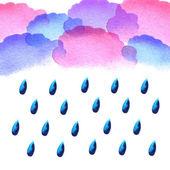 Watercolor rain drops — Vector de stock