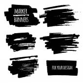 Marker banners, lines and stains — Stock Vector