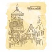 城市在老式的水彩背景素描 — 图库矢量图片