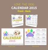 LOVE THE DOG CALENDAR 2015 COVER — ストックベクタ