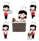 小女孩厨师 — 图库矢量图片