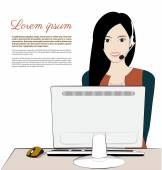 Women operater — Stock Vector