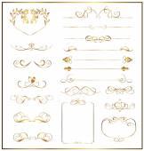 Set calligraphic gold — 图库矢量图片