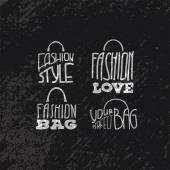 Fashion bags set with fashion quotes on them — Vector de stock