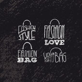 Fashion bags set with fashion quotes on them — Stock Vector