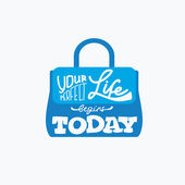 Fashion bag with quote-Your perfect life begins today — Stock Vector