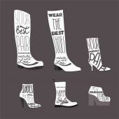 Shoe symbol -shoes set with fashion quotes — Vettoriale Stock
