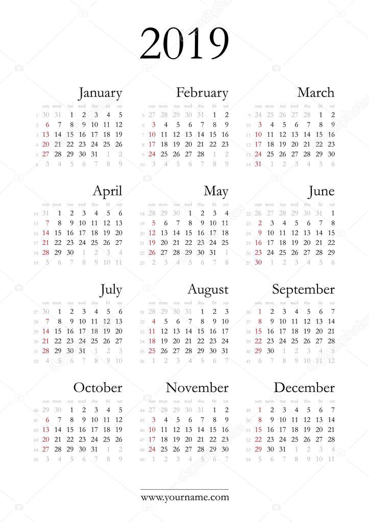 Calendario 2019 Venezuela