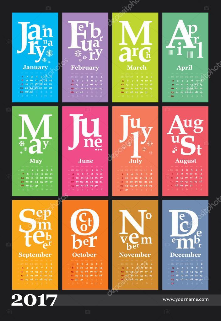 Kalendervorlage 2017, starten
