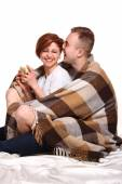 Young love couple  under the covers — Stockfoto