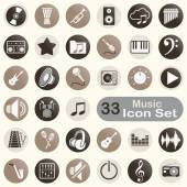 Set of round music icons — Vettoriale Stock