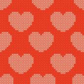 Valentines day red knitted seamless pattern — 图库矢量图片