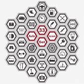 ポリゴン自動アイコン セット — ストックベクタ
