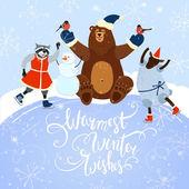 Warmest winter wishes — Stock Vector