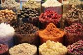 Dried herbs flowers spices in the spice souq at Deira — Stock Photo