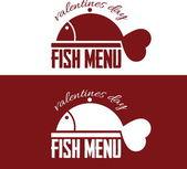 Menu de peixe ilustração para o dia dos namorados — Vetor de Stock