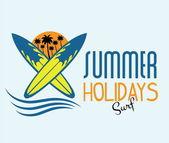 Ilustration of surf summer holidays — Stock Vector