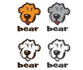 Set of faces of cartoon bear — Stock Vector