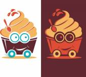 Illustration smiling frozen yogurt on wheels — Stock Vector