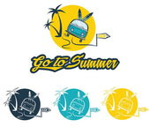 Illustration and stickers go to summer  — Stock Vector