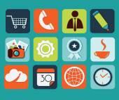 Flache icons für web und mobile anwendungen — Stockvektor