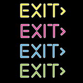 Vector illustration showing a neon exit sign — Stock Vector