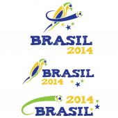 Vector illustartion brasil 2014 with parrot — Stock Vector