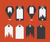 Flat design modern vector illustration icons of uban shopping — Stock Vector
