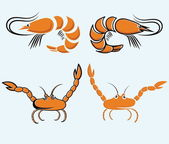 Set of  shrimps and crabs — Stock Vector
