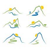山、木、太陽のセット — ストックベクタ