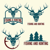 Hunting and fishing vintage set — Stock vektor